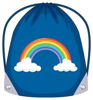 Una borsa con coulisse blu con motivo arcobaleno