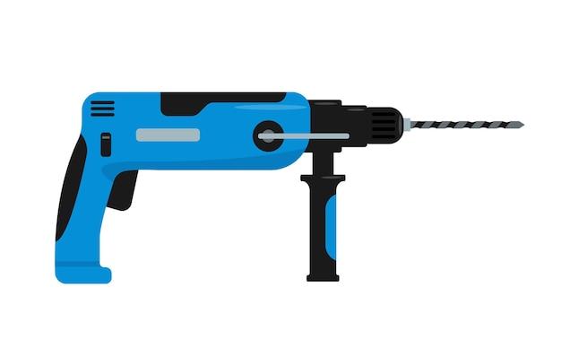 파란색 드릴 또는 천공기. 주택 수리용 전기 기기