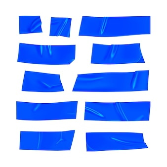 Blue duct tape set. realistic blue adhesive tape pieces for fixing isolated