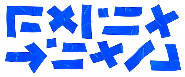 블루 덕트 테이프 세트. 고립 된 고정을위한 현실적인 파란색 접착 테이프 조각입니다. 화살표, 십자가, 모서리 및 종이가 붙어 있습니다.