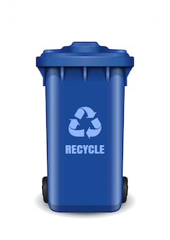 Blue dumpster. garbage can with waste recycling symbol. recycling wheelie bin with recycle arrow symbol.