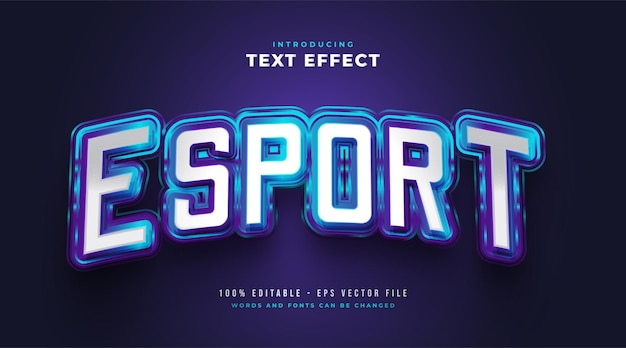 Blue e-sport text style effect with glowing effect. editable text style effect