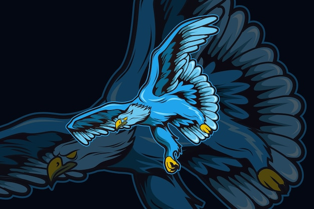 Шаблон логотипа команды blue eagle e-sports