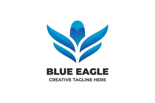 Логотип бизнес синий орел градиент