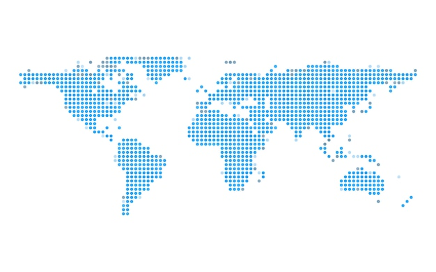 Blue earth dot map on white isolated background