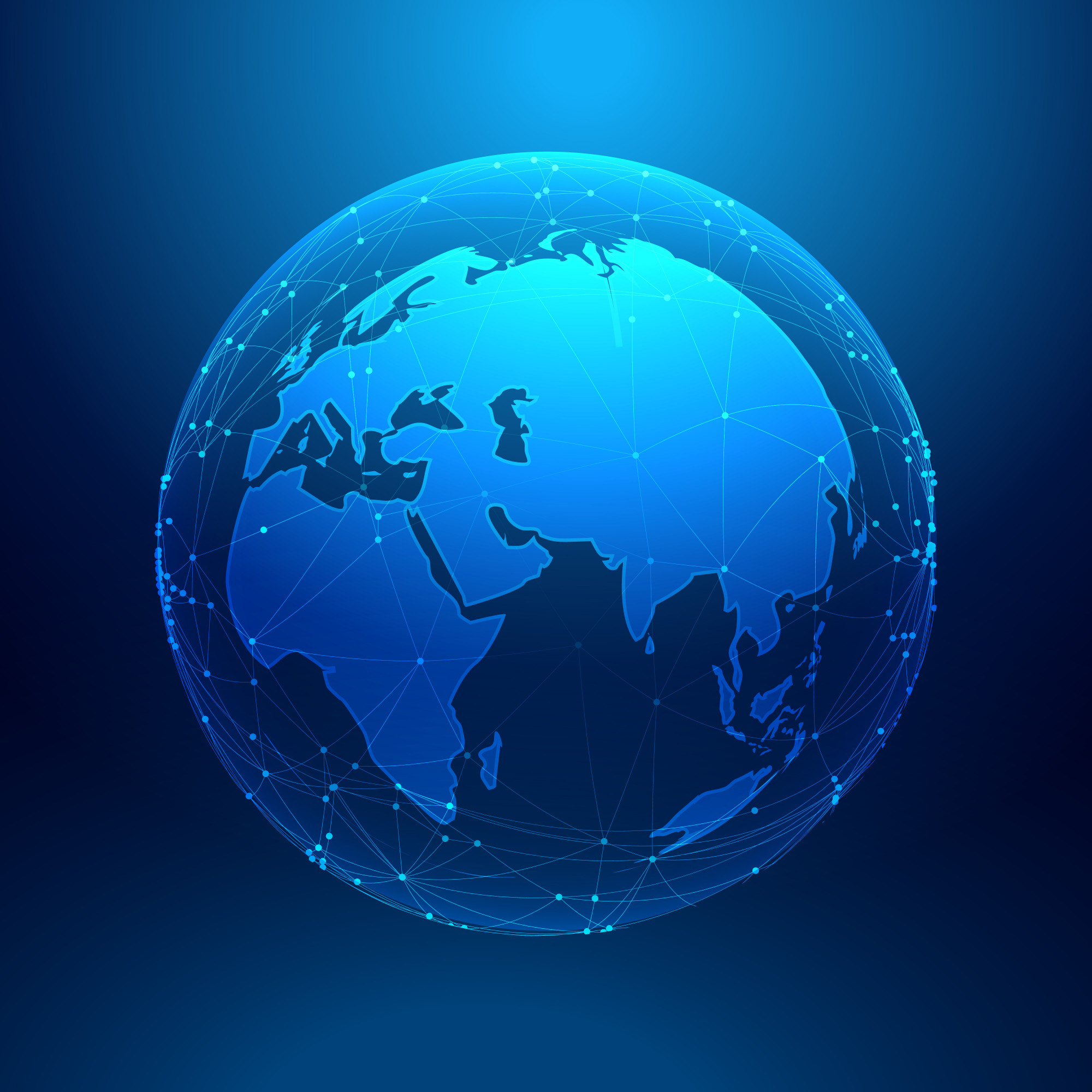 Blue earth on wireframe network mesh