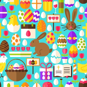 Синий пасхальный фон. плоский дизайн векторные иллюстрации. плитки фона. весенний праздник.