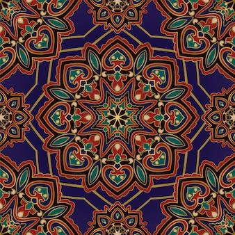 Blue eastern pattern with mandalas.