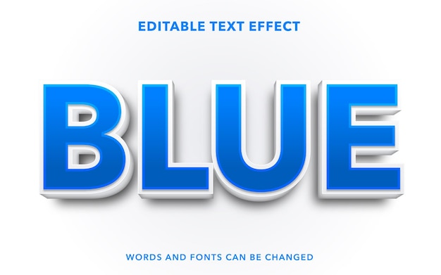 Blue editable text effect style