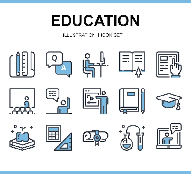 Blue education icons set,
