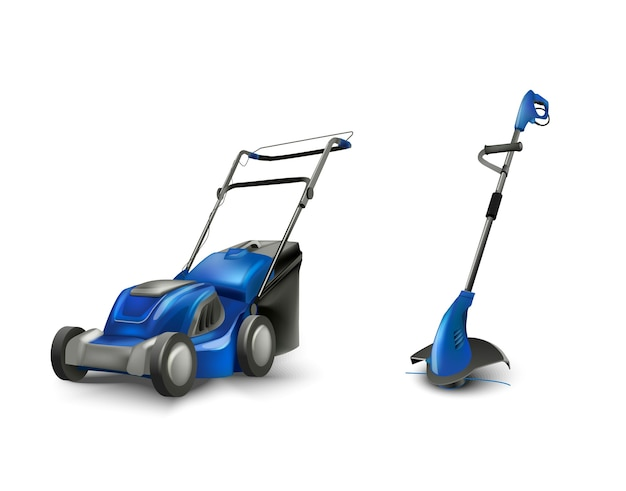Blue electric lawn mower lawn mowing machine.