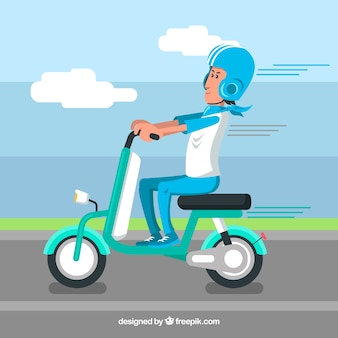 Blue electric scooter concept