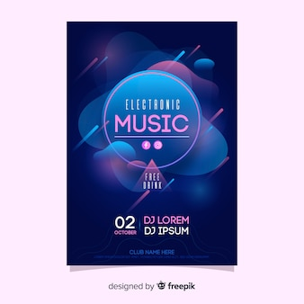 Blue electronic music poster template