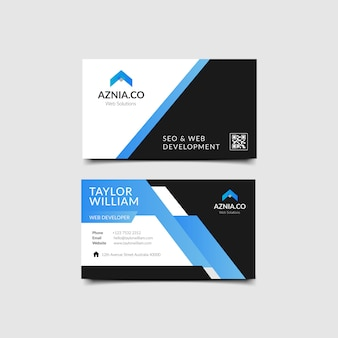 Blue elegant corporate business card