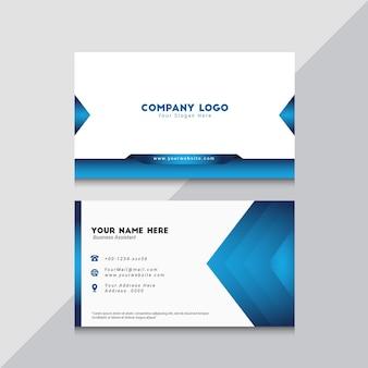 Синий элегантный двухсторонний шаблон визитной карточки