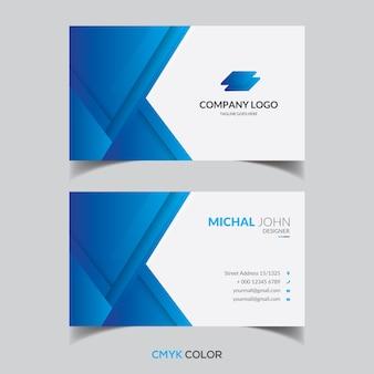 Blue elegant geometric shape gradient business card template