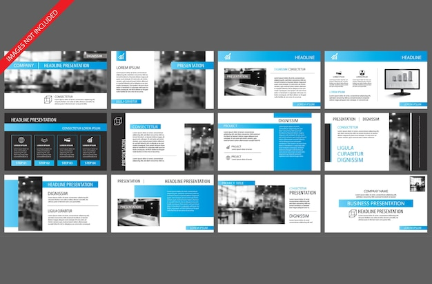 Blue element for slide presentation template.