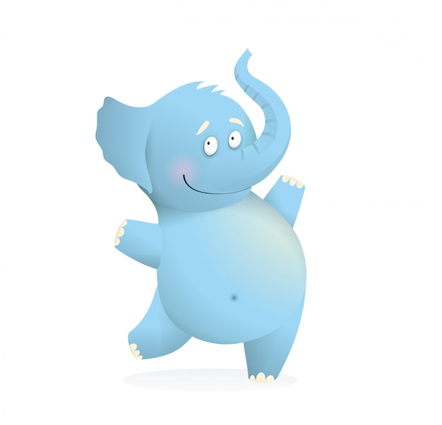 Blue elephant funny cute baby character for kids