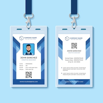Blue employee id card template