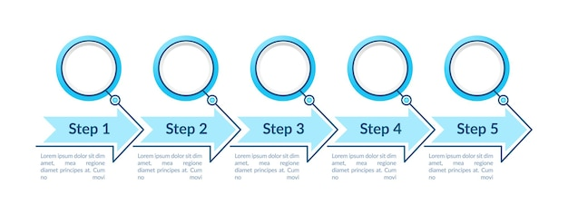 Blue empty circles steps infographic template