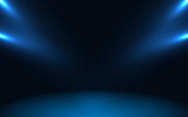 スポットライトとディスプレイの背景に使用される青い空の部屋のスタジオグラデーション。ベクトルデザイン。