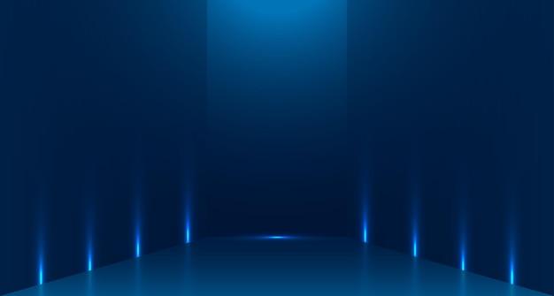 광고를 위한 콘텐츠 디자인 배너의 배경 및 표시에 사용되는 파란색 빈 방 스튜디오