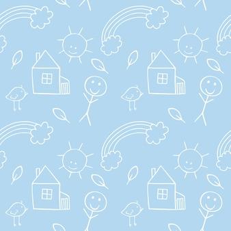 新生児のための白い輪郭の赤ちゃん落書きイラストと男の子のための部屋の青い無限のパターン。テキスタイル、衣類、紙の包装、縫製生地、カバーの背景。手で鉛筆スケッチ