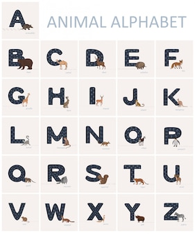 Blue english alphabet letters with animal tracks on it and animals in cartoon style nearby.
