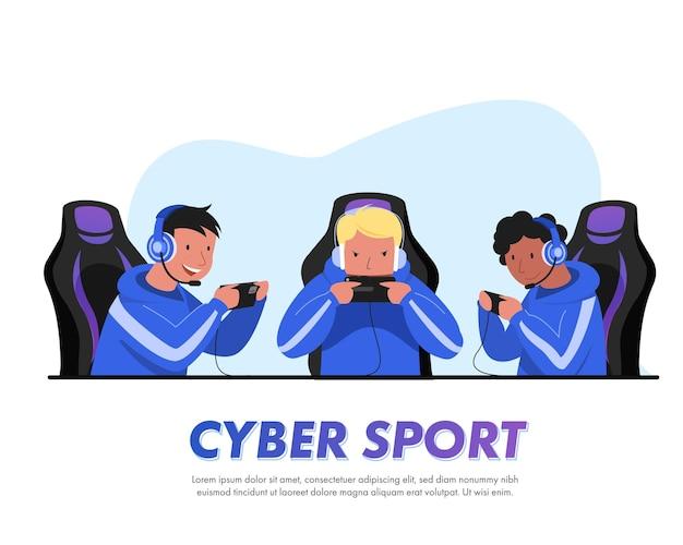 Синие киберспортивные команды тренируются в играх, которые будут участвовать в ежегодном большом турнире