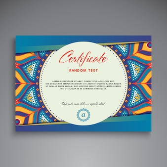 Blue ethnic diploma design