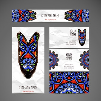 エスニックスタイルの名刺コレクションハンドドロー