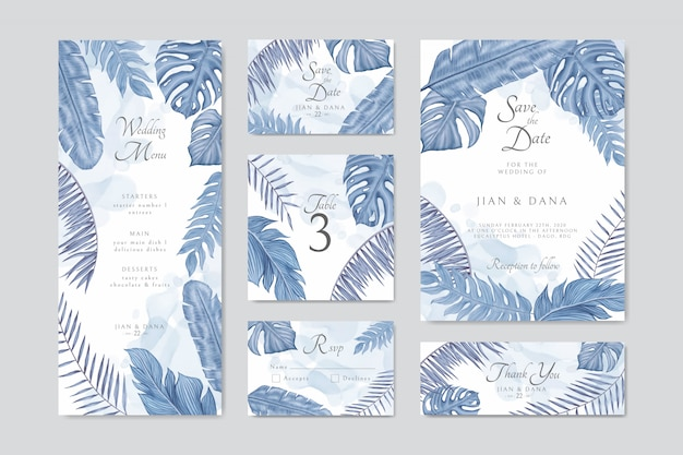 Blue exotic tropical leaves frame wedding invitation card template set bundle collection