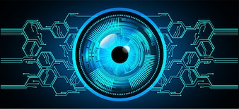 Blue eye ball cyber future technology concept background