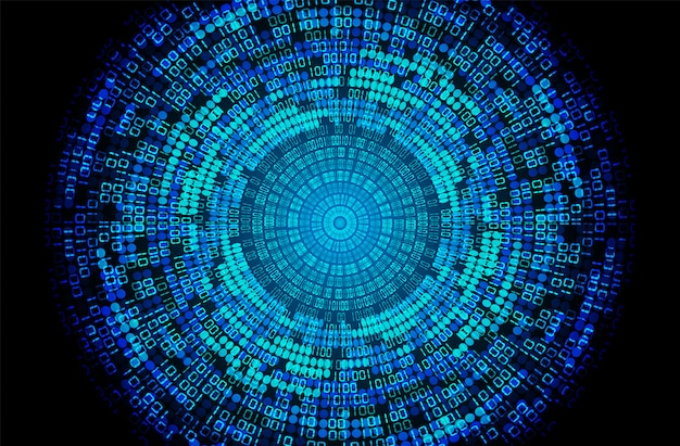 Blue eye binary cyber circuit future technology concept background