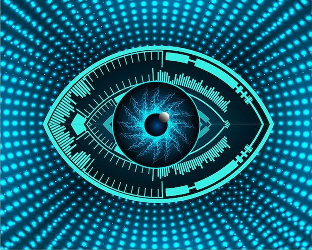 Blue eye cyber circuit future technology background