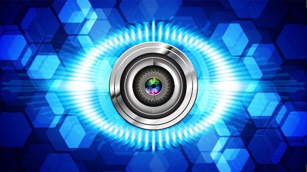 파란 눈 사이버 회로 미래 기술 배경