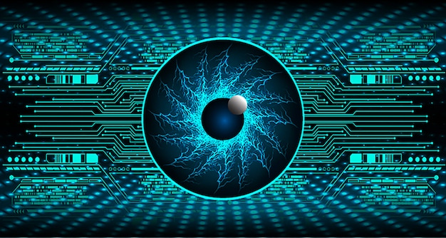 Blue eye cyber circuit future technology concept background
