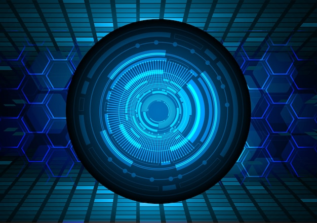 Синий глаз кибер схема будущей технологии концепции фон