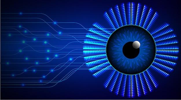 푸른 눈 사이버 회로 미래 기술 개념 배경