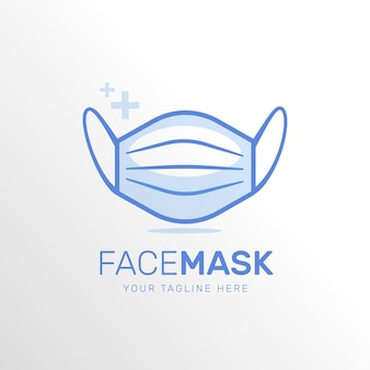 Blue face mask logo