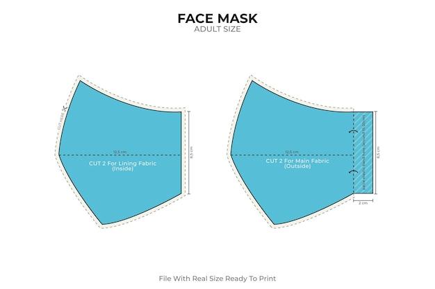 青い顔のマスク縫製パターン