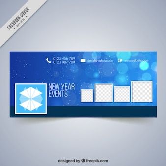 Blue facebook cover with bokeh effect