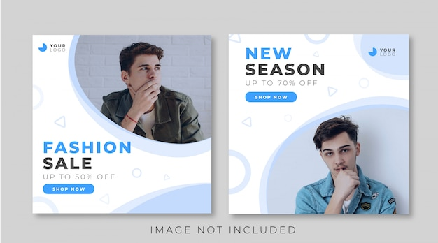Blue fashion sale banner template for instagram post