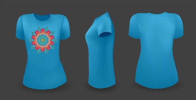 Blue female t shirt with mandala front back and side view vector