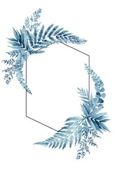 Синие листья папоротника, тропическая рамка