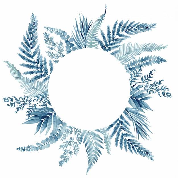青いシダの葉、トロピカルフレーム