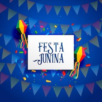 Blue festa junina design with garlands