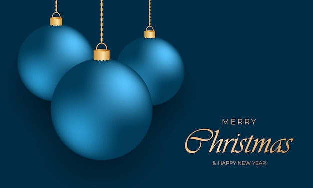 남색 배경에 금 사슬에 매달려 있는 파란색 축제 크리스마스 공