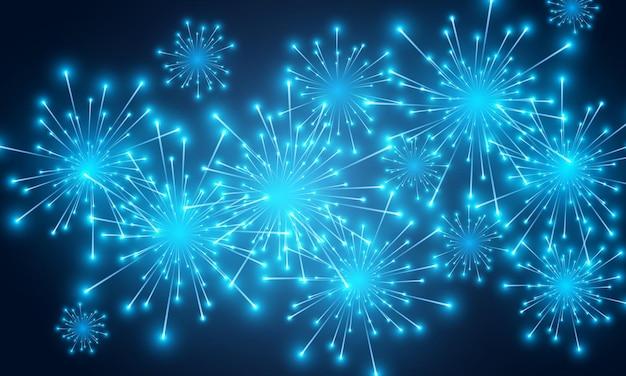 Синий праздничный фейерверк и новогодний блеск праздничных огней
