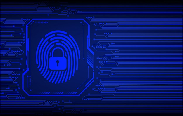 Blue finger print cyber circuit future technology concept background